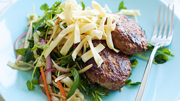 Thai Pork and Apple Rissoles with Asian Slaw