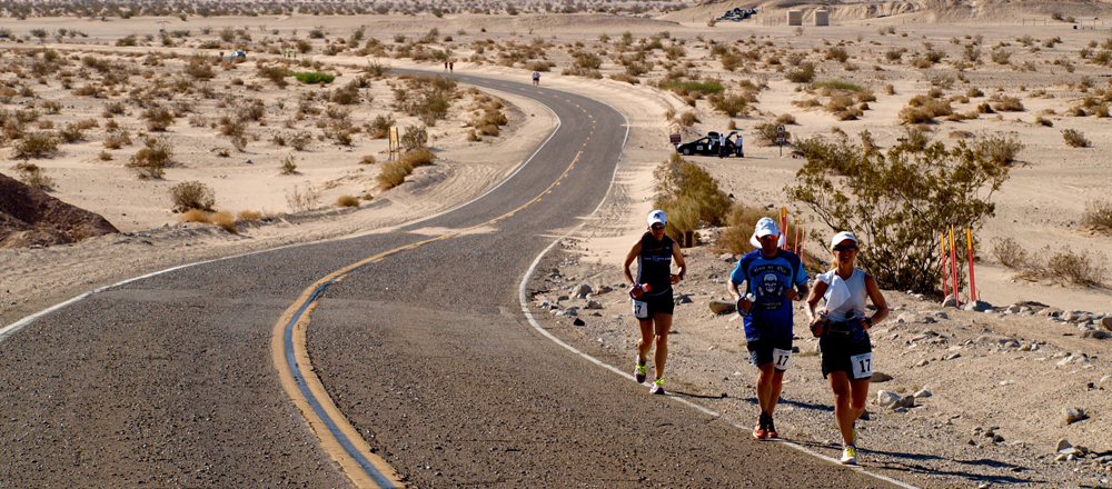 Runners in the Badwater Ultra-marathon - a 217km running race, where the temperature averages above 45 degrees C